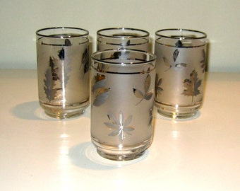 1960s Silver Leaf Libbey Lowball Glasses, Set of Four