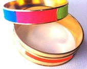 Chelsea Neons & Brights Gold Plated Bangle Set - One-of-a-Kind, Colorful twill tape on Gold Bangles
