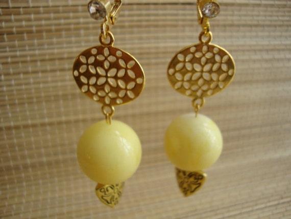 Amber White Yellow Cream Color - Swarovski Crystal Components Handmade Artisan Vermeil 18K Gold Filled Wonderful Bezel Earrings