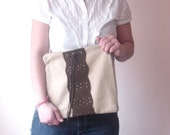 Fold over clutch. Fabric and Genuine suede leather. Brown and beige.