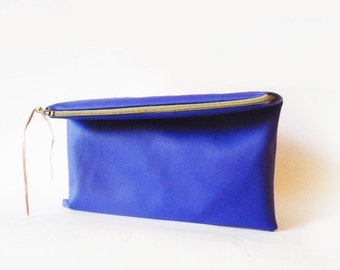 Cobalt blue Clutch purse, Fold over, Vegan Faux leather, Electric blue