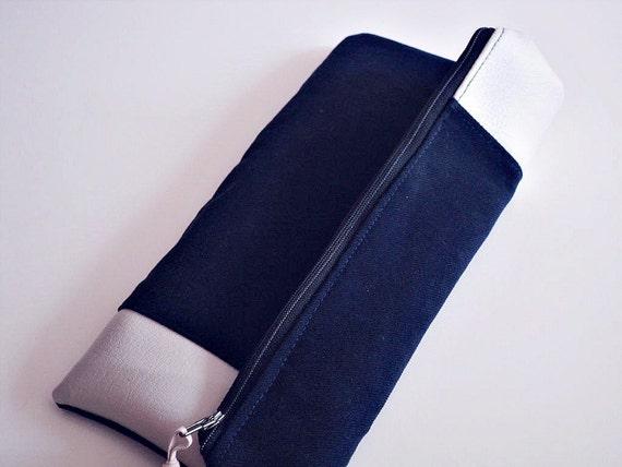 SUMMER SALE - Zippered Clutch Faux leather stripe Indigo Blue and Creamy Beige