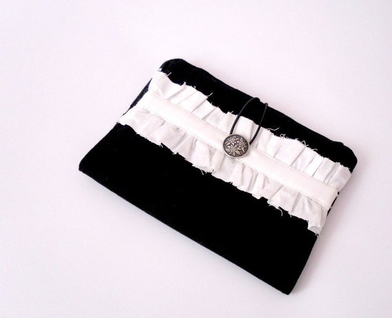 Kindle Cover /Nook Cover /eReader Cover/ Book Style Tablet case Black and White Shabby chic Ruffle