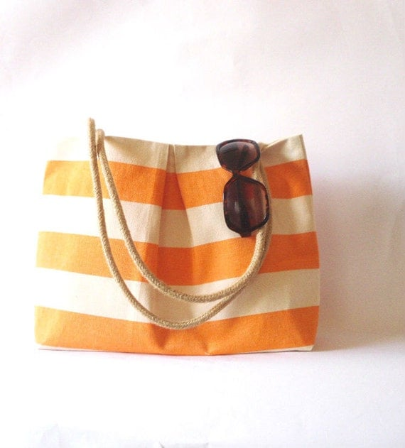 Canvas Tote bag Beach bag Orange and white stripes. Water