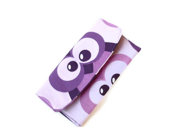 Clutch / wallet with snap Purple Owl Lilac Polka dot