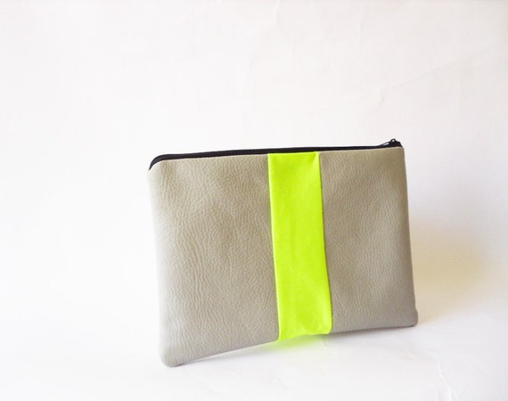 clutch purse, Leather pouch, Vegan leather Neon