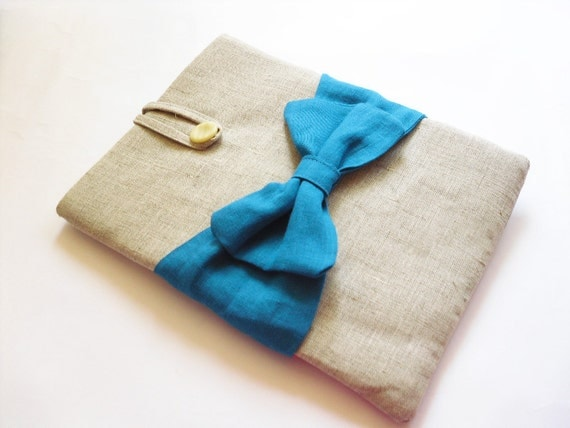 MacBook Air cover 11 / 13 inches , MacBook Air case / sleeve Natural canvas, Bow Blue teal color