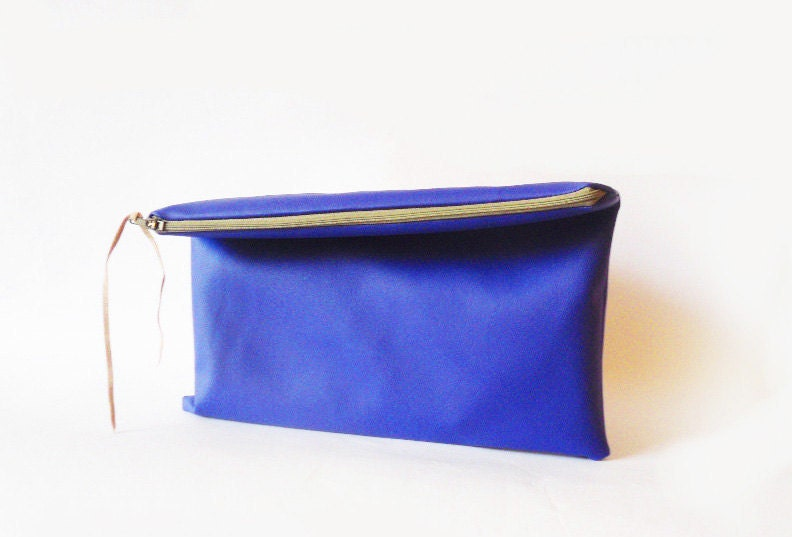 Cobalt blue Clutch purse Fold over Vegan Faux leather