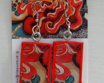 Earrings Bead Lady Red Portrait Illustration
