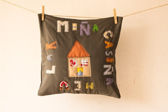 Reserved for Olga - modern applique pillow cover (upcycled shirt)