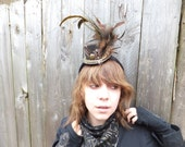 LRG earth toned mini top hat with key hole and crystal