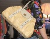 Suede and Straw Handbag: Vtg 60s Handmade Suede and Straw Handbag with Bayern Crest as closure