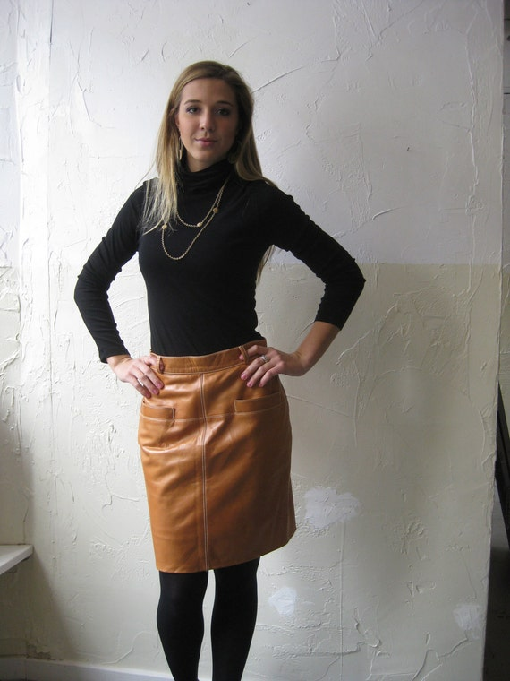 skirt: Vtg 80s Escada Tan Leather Skirt
