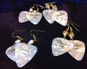 guitar pick earrings in pearl