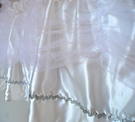 """SALE Silk Dupioni """"like"""" Valance Curtain w Sliver Accents & Tulle w """"Diamonds""""  Cottage Chic Nursery Shabby Chic French Curtain Style"""