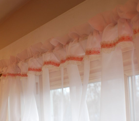 Pink & White Sheer Valance with Pink Ribbon and Lace Cottage Chic Baby Nursery Childrens Room Window Topper Curtain Shabby Chic
