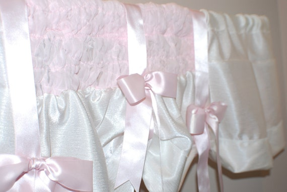 Nursery Pink & White Smocked Valance with Pink Satin Bows Shabby Chic Cottage Chic Window topper