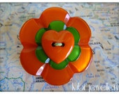 Beautiful, orange and green, flower, heart, button brooch, for her, spring, summer - 2inch