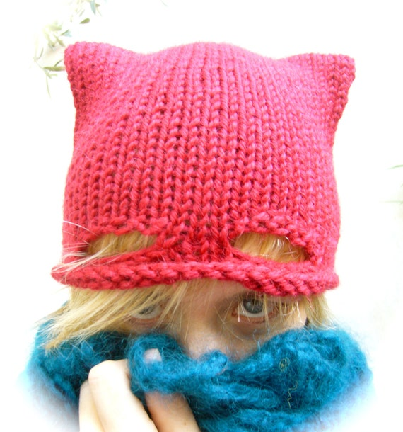 Cat Lady Knitting : Items similar to catwoman hand knitted cap bonnet