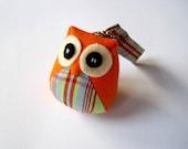 Botania - the Little Cute Owl Doll with Bag: plush, keychain, children, kid, baby, boy, girl, kid, plaid, orange, colorful