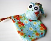 Aoi - the Little Cute Owl Doll with Bag: plush, keychain, children, kid, baby, boy, girl, kid, flower, sakura, wave, sea, blue, light blue