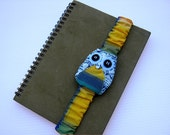 Yellow and Blue Owl Book Strap, owl, journal strap, notebook strap, journal band, diary band, boy, girl, kid, black, felt, spring, bird