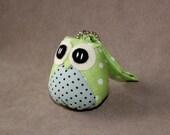 Ribbitto - the Little Cute Owl Doll with Bag: plush, keychain, children, kid, baby, boy, girl, kid, poka dot, light green, blue