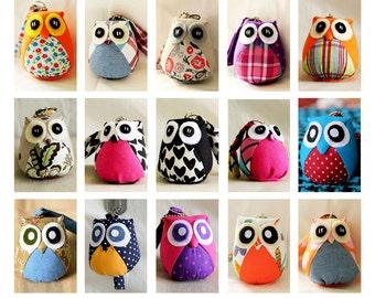 Custom Medium Owl Doll with Bag: plush, keychain, owl decor, kid doll, children doll, baby doll, white, poka dots, flowery, plaid, plain