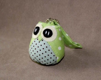 Ribbitto - the Little Cute Owl Doll with Bag: plush, keychain, children, kid, baby, boy, girl, kid, poka dot, light green, blue