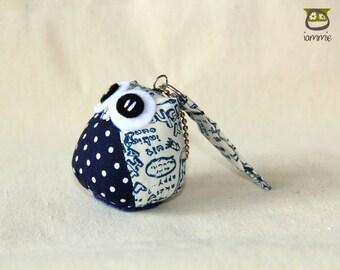 Blackcurrant - Owl Doll with a Bag: owl plush, owl decor, little, mini, kid, navy, blue, white, poka dot, owl decoration, kawaii, iammie