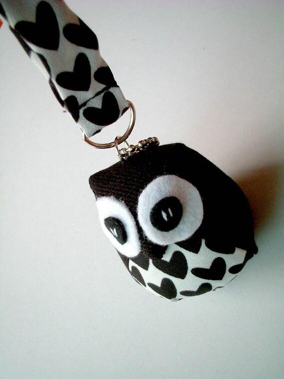 Pidgid - the Little Cute Owl Doll with Bag: plush, keychain, children, kid, baby, boy, girl, kid, black, white, heart, check