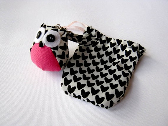 Bottina - the Little Cute Owl Doll with Bag: plush, keychain, children, kid, baby, boy, girl, kid, black, check, white, heart, pink