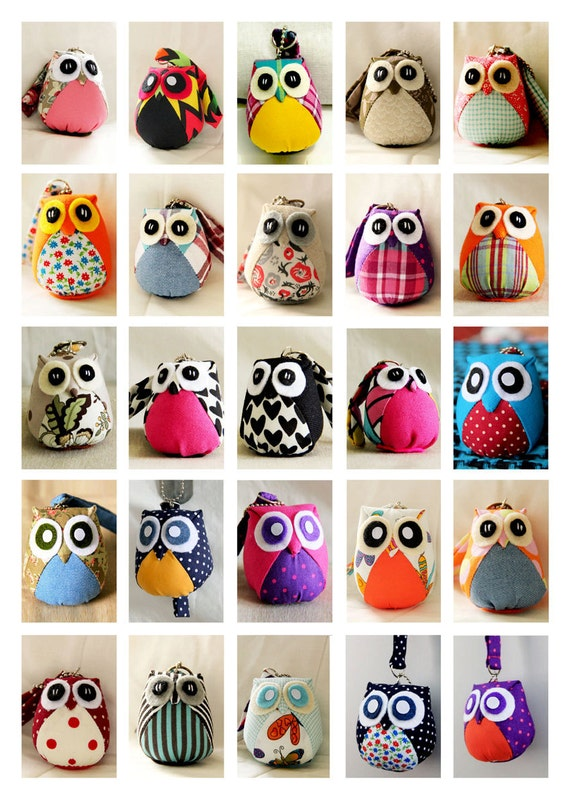 Custom Little Owl Doll with Bag: plush, keychain, owl decor, kid doll, kid, boy, girl, soft, white, plaid, pink, green, red, flowery, plain