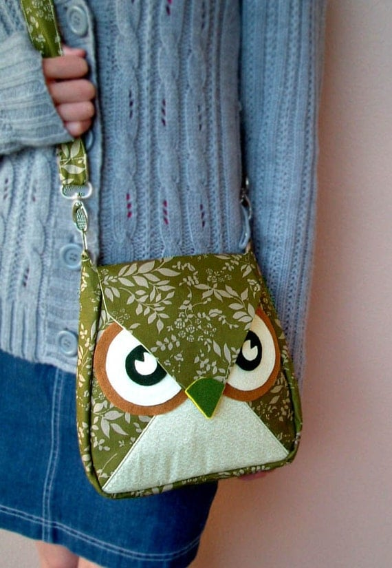 Leafly: the Green Leaf Flip Owl Bag, messenger bag, tote, animal, women, kid bag, children bag, fabric bag, girl bag, boy bag, iammie, cute
