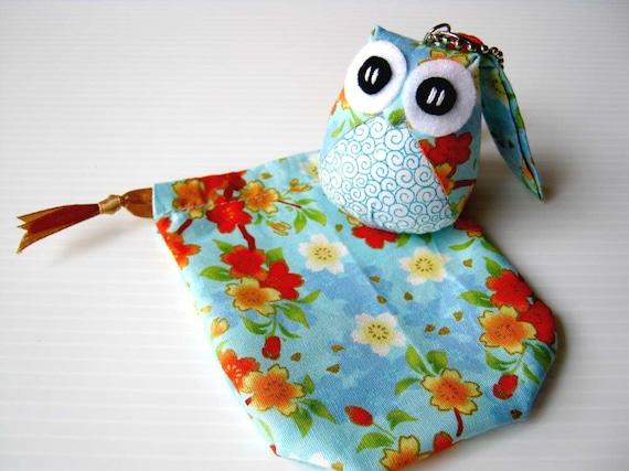 Aoi - the Little Cute Owl Doll with Bag: plush, keychain, children, kid, baby, boy, girl, kid, flower, sakura, wave, sea, blue, light blue