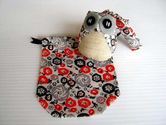 Maco - the Little Cute Owl Doll with Bag: plush, keychain, children, kid, baby, boy, girl, kid, eco, soft, red, balck, grey, gray