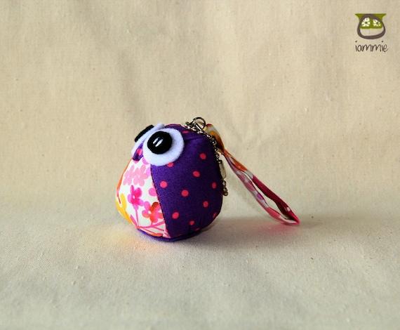 Summer - Little Owl Doll with a Bag: owl plush, owl decor, little, mini, kid, pink, purple, flower, poka dot, owl decoration, kawaii, iammie