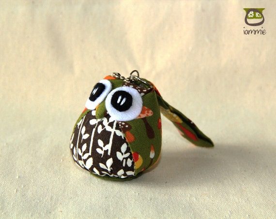 Forest - Little Owl Doll with a Bag: owl plush, owl decor, little, mini, kid, black, white, vine, green, mushroom, owl decoration, kawaii