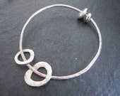 Lila - Hand hammered Sterling silver bangle with sliding charms