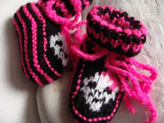 Baby hand knitted punk rock booties, socks.