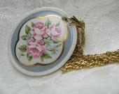 Vintage Porcelain Rose Pendant