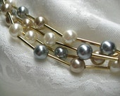 Vintage Pearl Necklace avon multi strand necklace cream silver champagne pearls