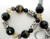 Black Onyx Bracelet gemstone swarovski crystal silver
