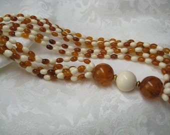 Vintage Avon Beaded Necklace Ivory & Tortoise retro 1980s style amber and ivory color acrylic beads perfect rockabilly necklace gift for her