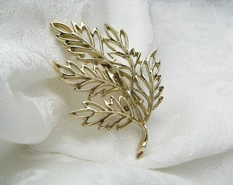 Vintage Gold Leaf Brooch coat brooch scarf pin retro brooch sweater pin