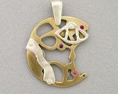 Handmade Steampunk Movement Sapphire and Ruby Riveted Clockwork Pendant