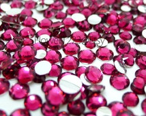 400pcs - Assorted 2mm to 6mm 14 Faceted Cut Hot Pink Rhinestones Flat Back DIY Deco - BEST QUALIT