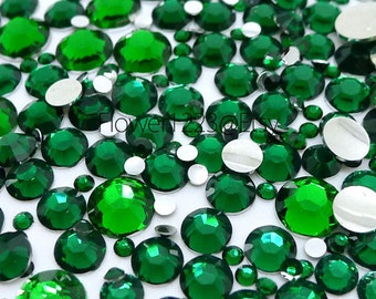 400pcs - Assorted 2mm to 6mm 14 Faceted Cut Green Rhinestones Flat Back DIY Deco - BEST QUALIT