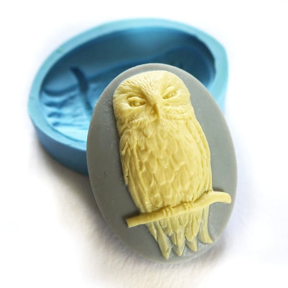 Owl Cameo 40x30mm Bakery Flexible Mold 203L* BEST QUALITY