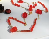 Love of Color Orange... orange acrylic and glass long necklace